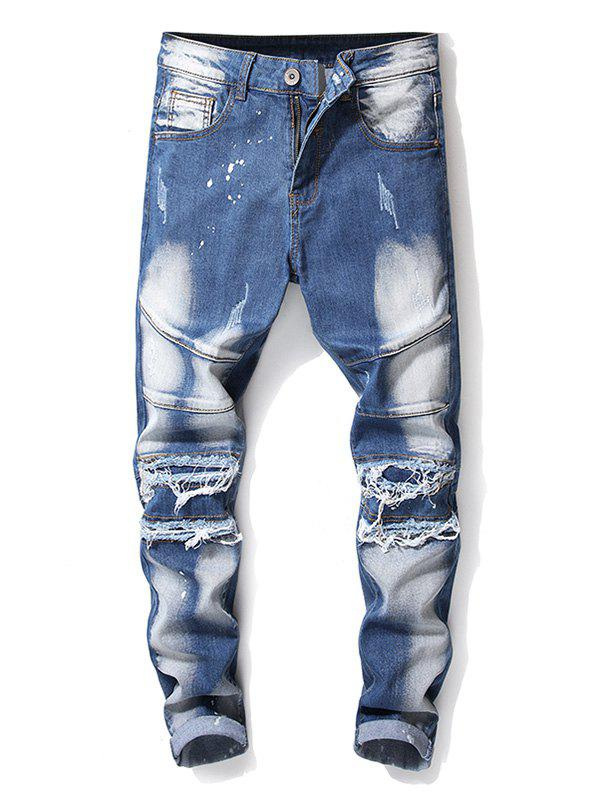 Cheap Ripped Zipper Fly Cuffed Biker Jeans