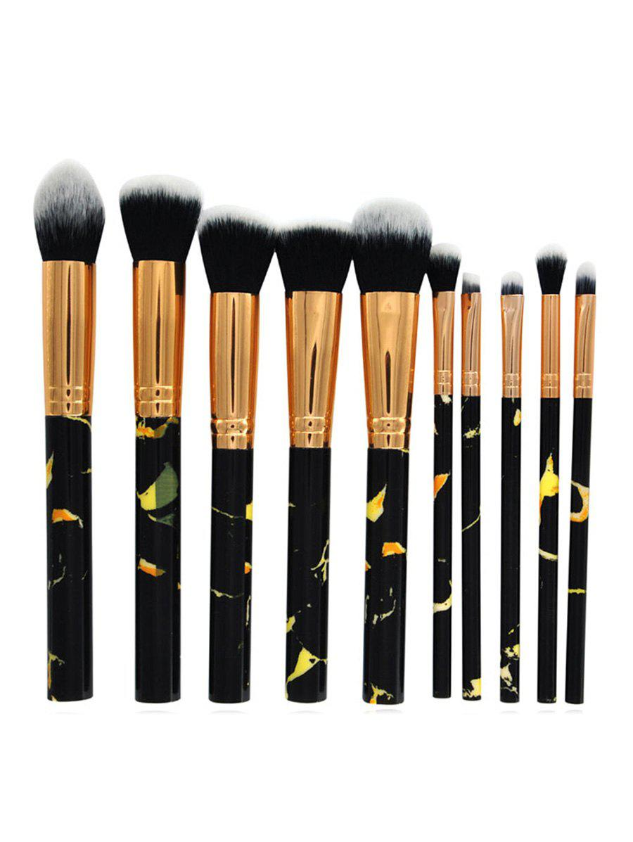 Hot 10Pcs Marble Handles Eyeshadow Blending Blush Liquid Foundation Brush Set