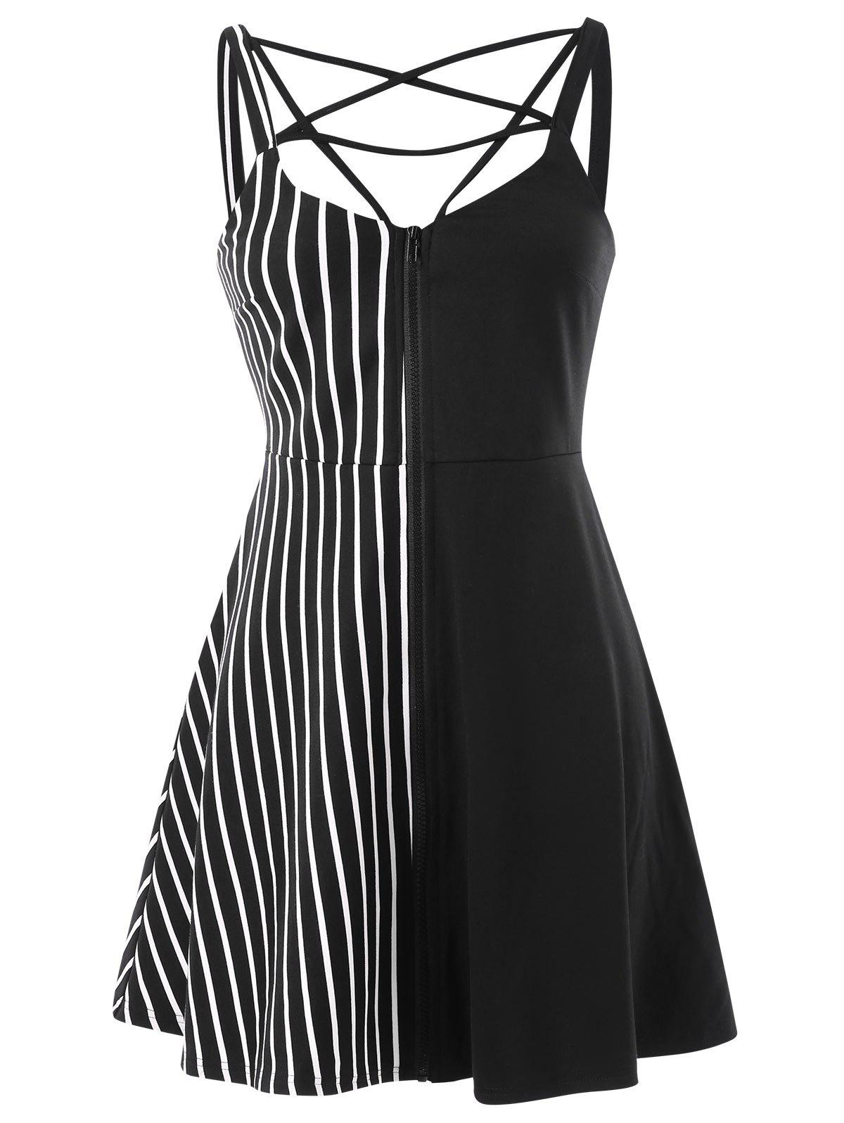 Store Zip Up Cami Strap Stripe Panel Dress