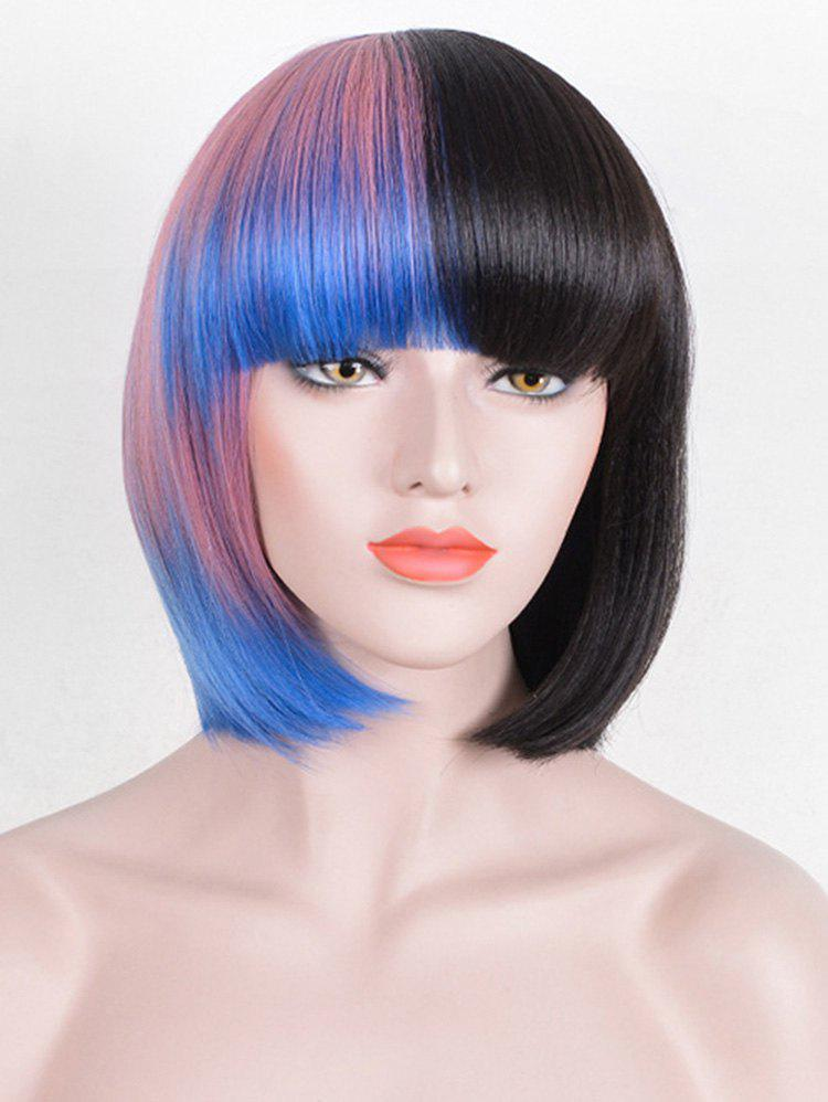 Outfit Short Full Bang Colorful Straight Bob Cosplay Synthetic Wig