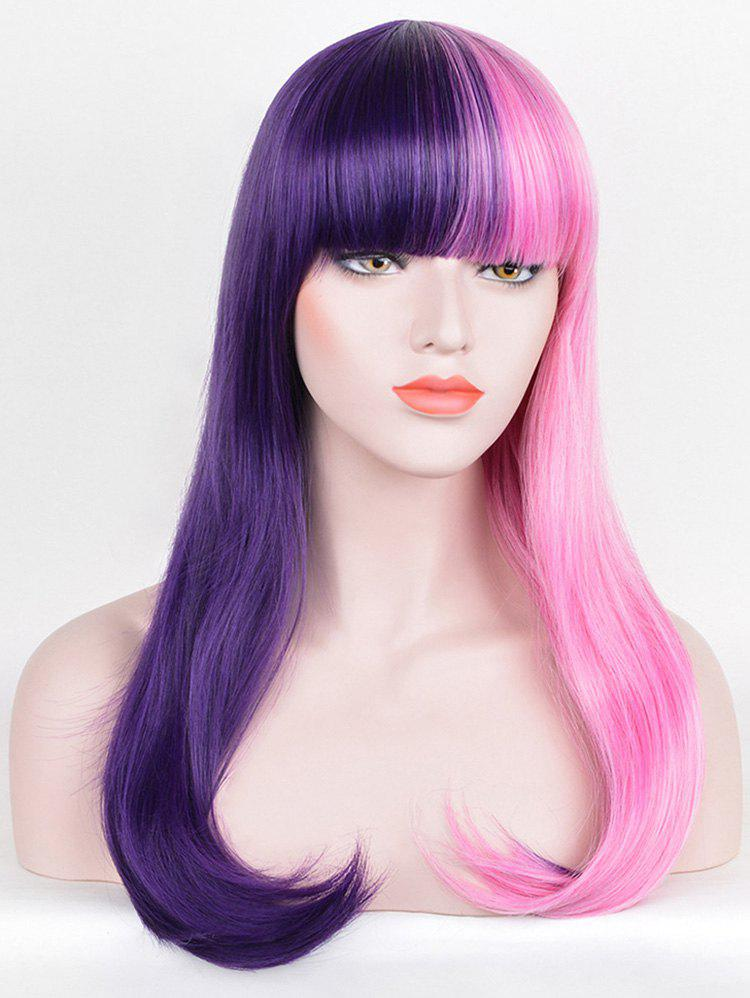 Shops Long Full Bang Two Tone Straight Party Cosplay Synthetic Wig