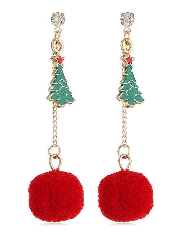 Outfit Fluzzy Ball Christmas Tree Hanging Earrings