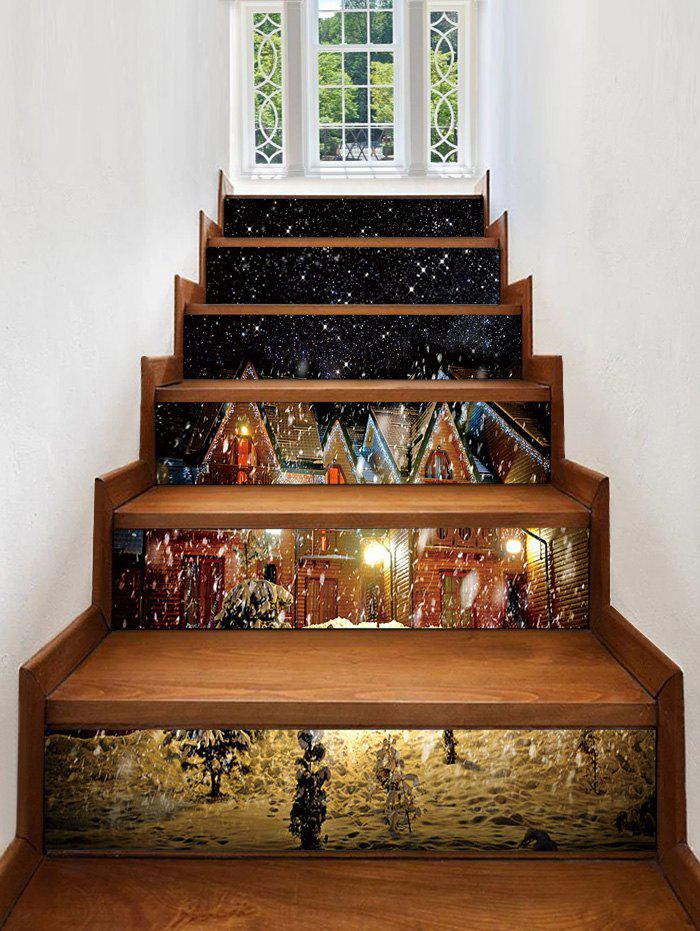 Chic Christmas Snow Night Printed Removable Stair Stickers
