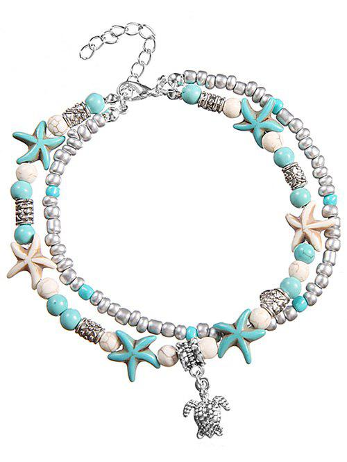 Discount Sea Star and Turtle Layered Chain Anklet