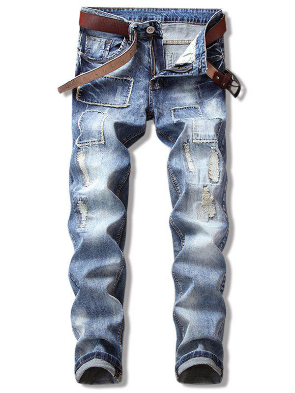 Fashion Patch Ripped Straight Leg Cuffed Jeans