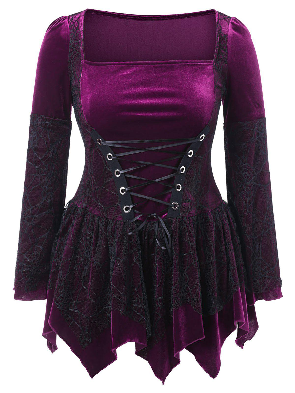 Outfits Halloween Plus Size Lace Up Velvet Peplum Top