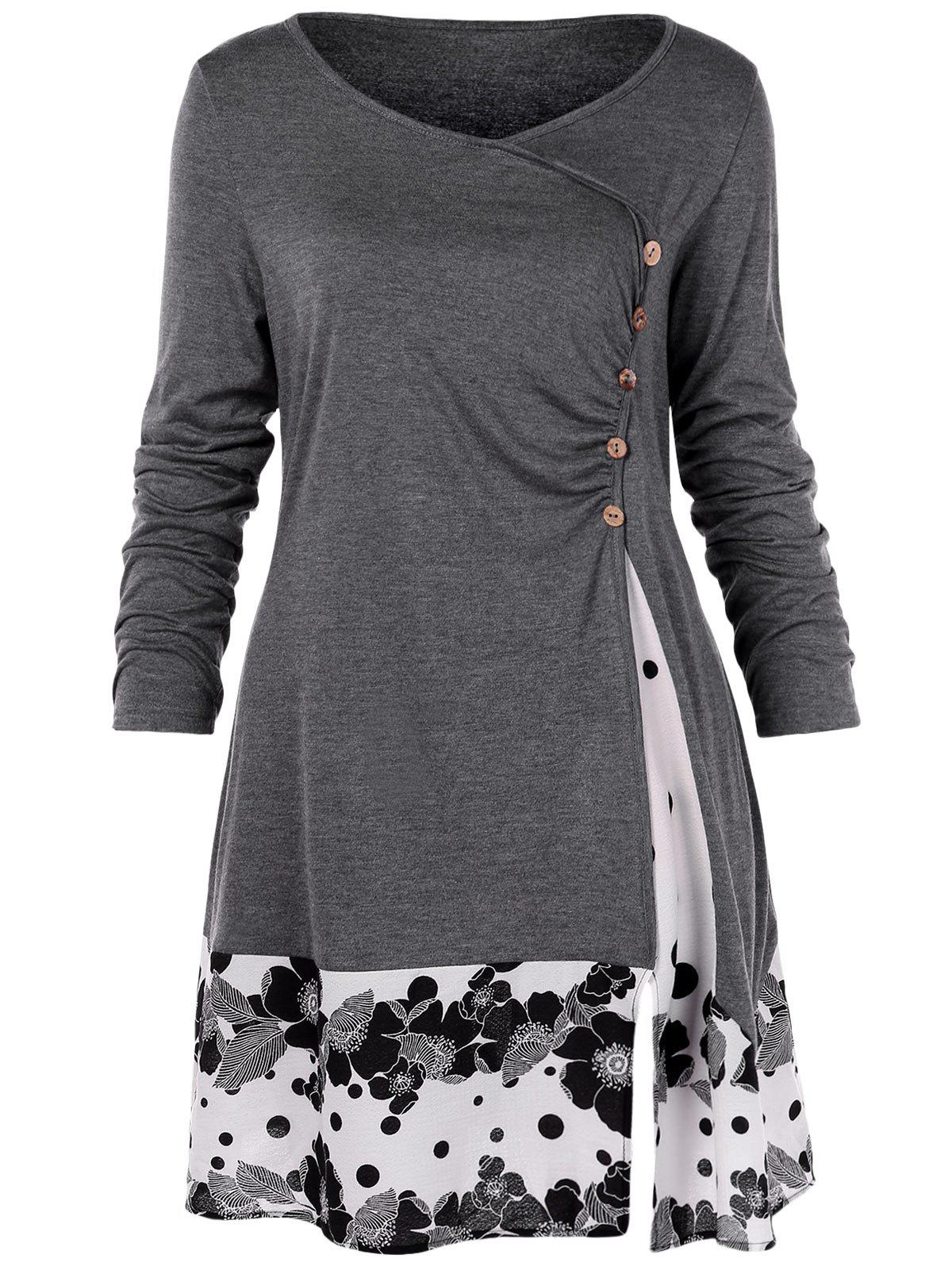 Online Plus Size Draped Floral Long Tunic Tee