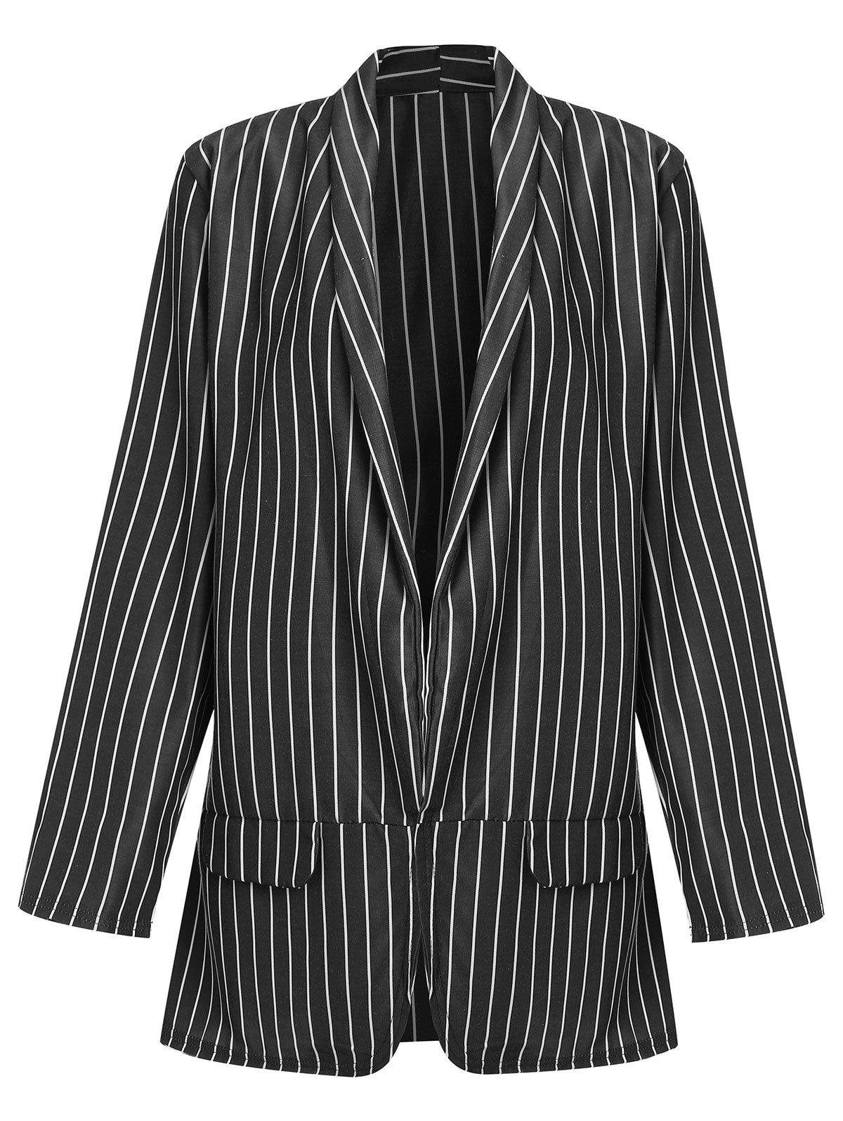Trendy Striped Long Blazer with Open Front