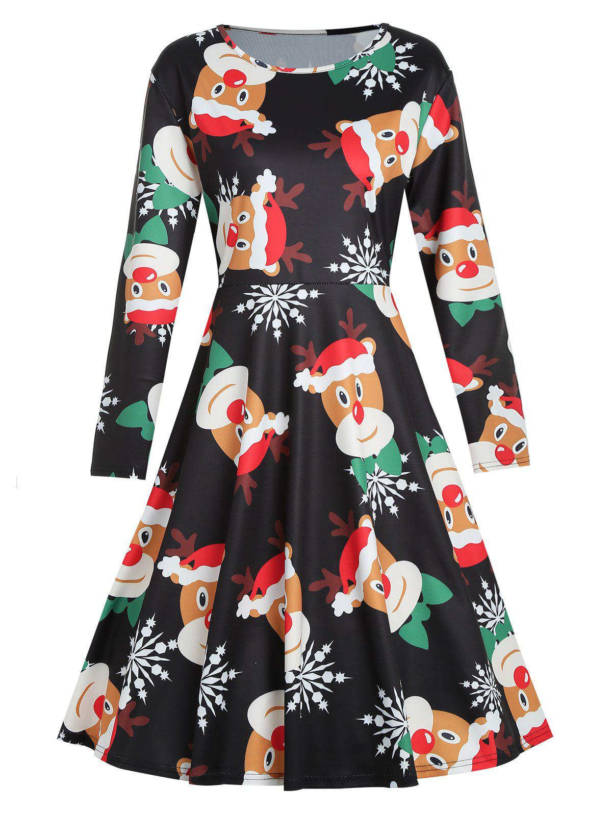 Chic Plus Size Reindeer Print Christmas Dress