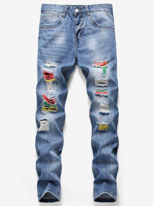 Sale Colorful Splashed Paint Destroyed Jeans