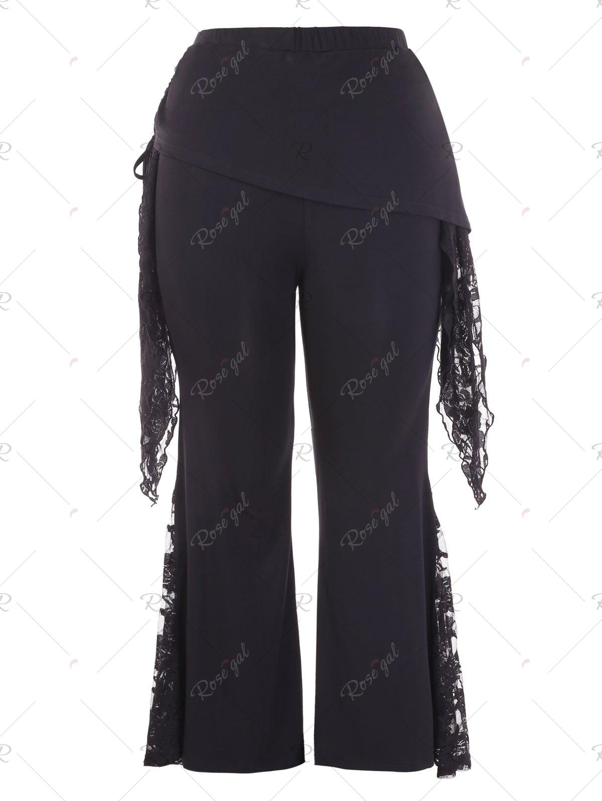 Outfit Plus Size Lace Panel Flare Pants