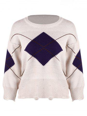 Ripped Drop Shoulder Knit Sweater