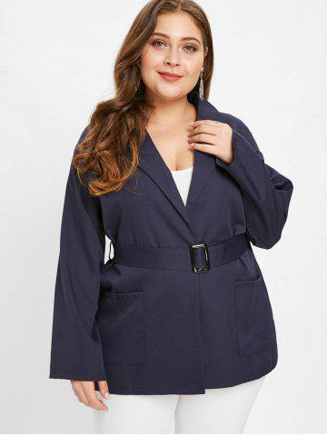 Collarless Plus Size Coat with Belt