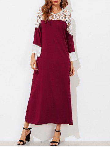 Contrast Lace Insert Maxi Dress - RED WINE - S