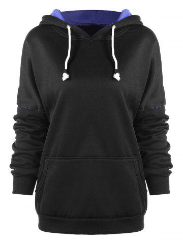 Two Tone Drop Shoulder Drawstring Hoodie