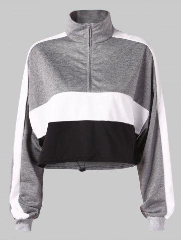 Color Block Stand Collar Cropped Sweatshirt