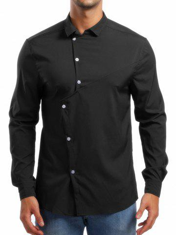 Personality Solid Irregular Button Up Shirt