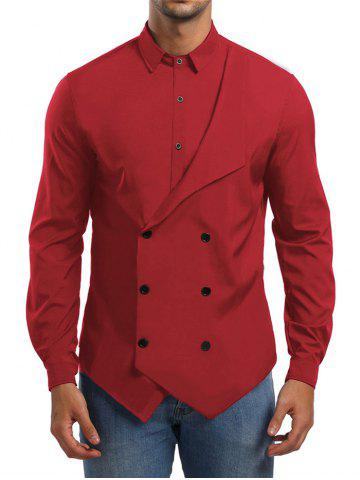 Solid Double Breasted Placket Shirt