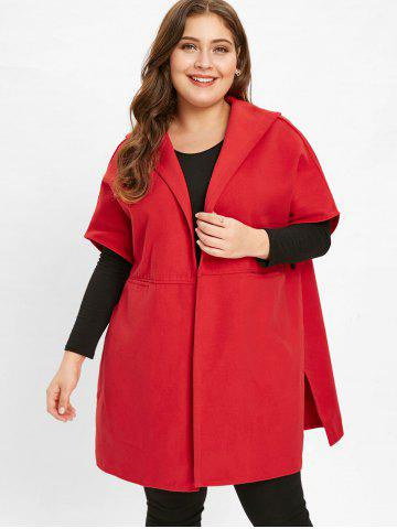 Open Front Plus Size Hooded Coat