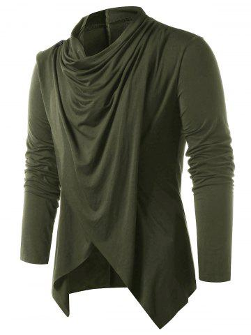 Convertible Open Front Cardigan - ARMY GREEN - S
