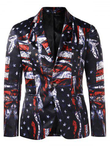 American Flag Print Shawl Collar One Button Blazer