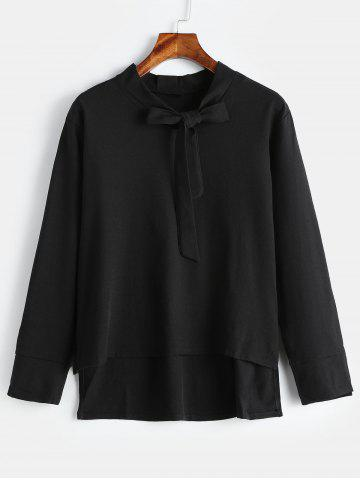 Plus Size Bow Tie Collar Blouse