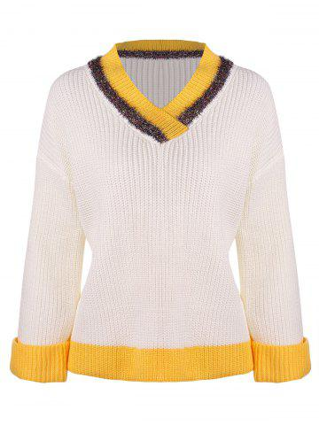 Striped V Neck Preppy Sweater