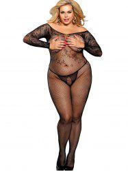 Crotchless Off Shoulder Plus Size Bodystocking -