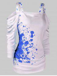 Halloween Cold Shoulder Blood Splatter T-Shirt -