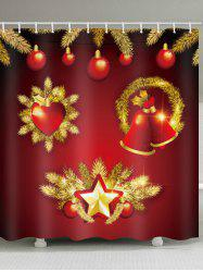 Christmas Ball Bell Print Waterproof Bathroom Shower Curtain -