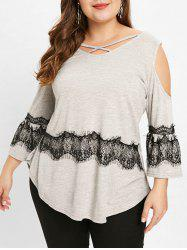 Plus Size Eyelash Lace Trim Cold Shoulder T-shirt -