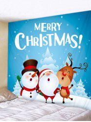 Father Christmas Snowman Deer Print Tapestry Art Decoration -