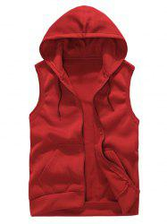 Solid Color Casual Hooded Vest -