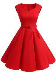 Plus Size Sleeveless Vintage Dress with Belt -