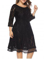 Plus Size Lace Knee Length Dress -