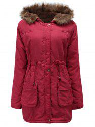 Drawstring Waist Plus Size Parka Coat -