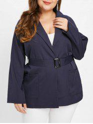 Collarless Plus Size Coat with Belt -