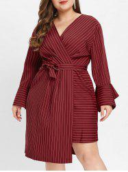 Flare Sleeve Plus Size Striped Panel Midi Dress -