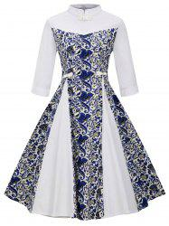 Plus Size Floral Stand Collar Flared Dress -