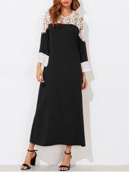 Contrast Lace Insert Maxi Dress -