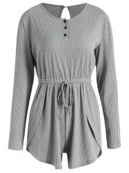 Ribbed Half-button Long Sleeve Romper -