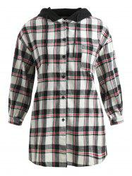 Plus Size Hooded Casual Plaid Dress -