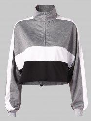 Color Block Stand Collar Cropped Sweatshirt -