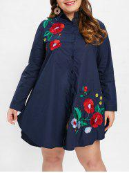 Robe chemise brodée grande taille -