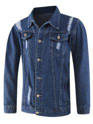 Casual Pockets Ripped Denim Jacket -