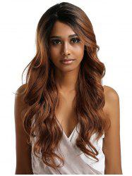 Long Side Parting Colormix Feathered Wavy Lace Front Synthetic Wig -