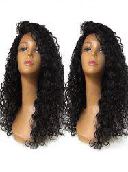Long Inclined Bang Curly Lace Front Synthetic Wig -