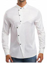 Personality Solid Irregular Button Up Shirt -