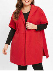 Open Front Plus Size Hooded Coat -