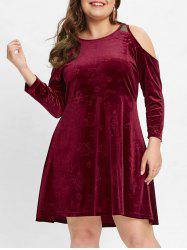 Cold Shoulder Plus Size Velvet A Line Dress -